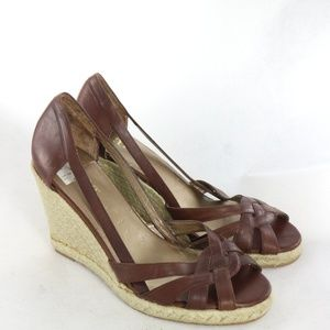 New A.N.A Brown Leather Cut Out Peep Toe Wedges
